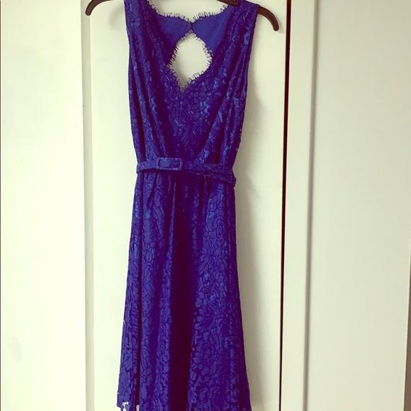 Eliza J Dresses & Skirts - Eliza J blue lace belted dress